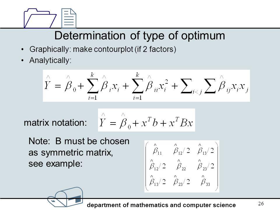 Determination of type of optimum