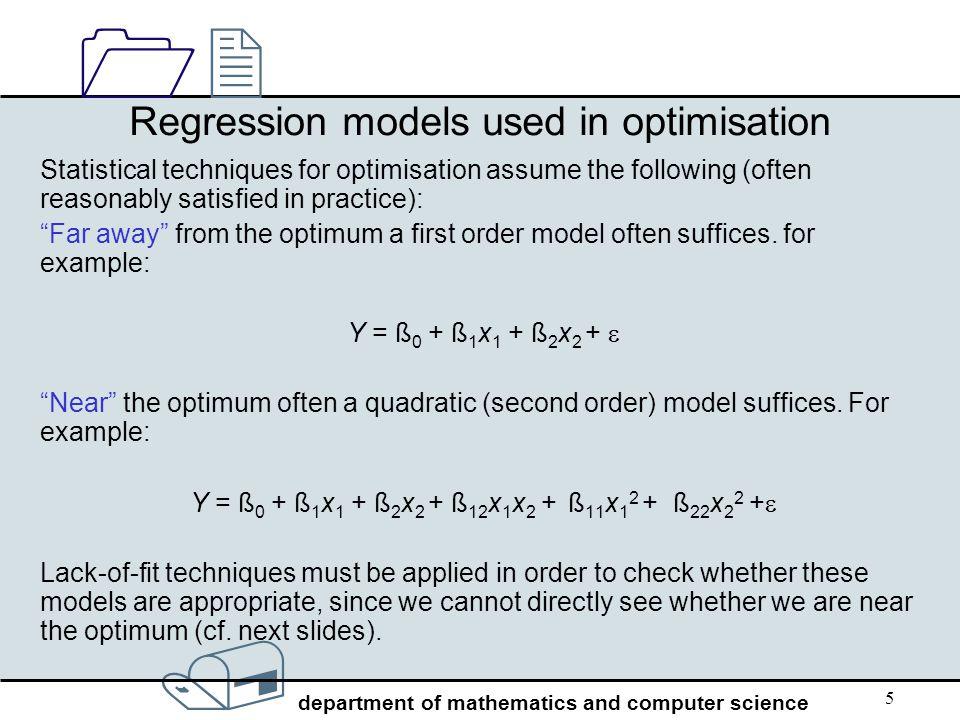 Regression models used in optimisation