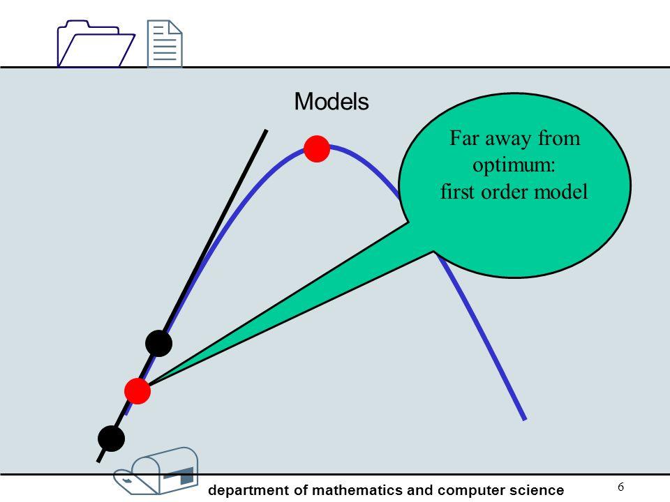 Models Far away from optimum: first order model