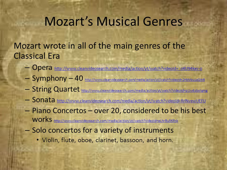 Mozart's Musical Genres