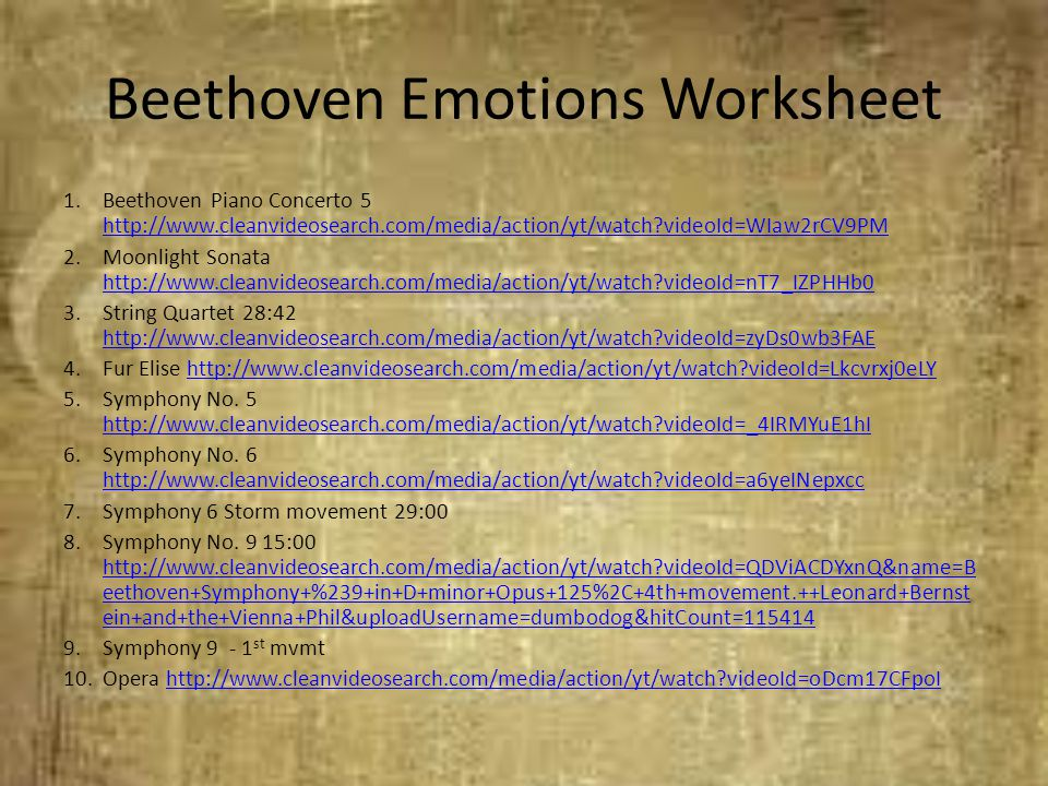 Beethoven Emotions Worksheet