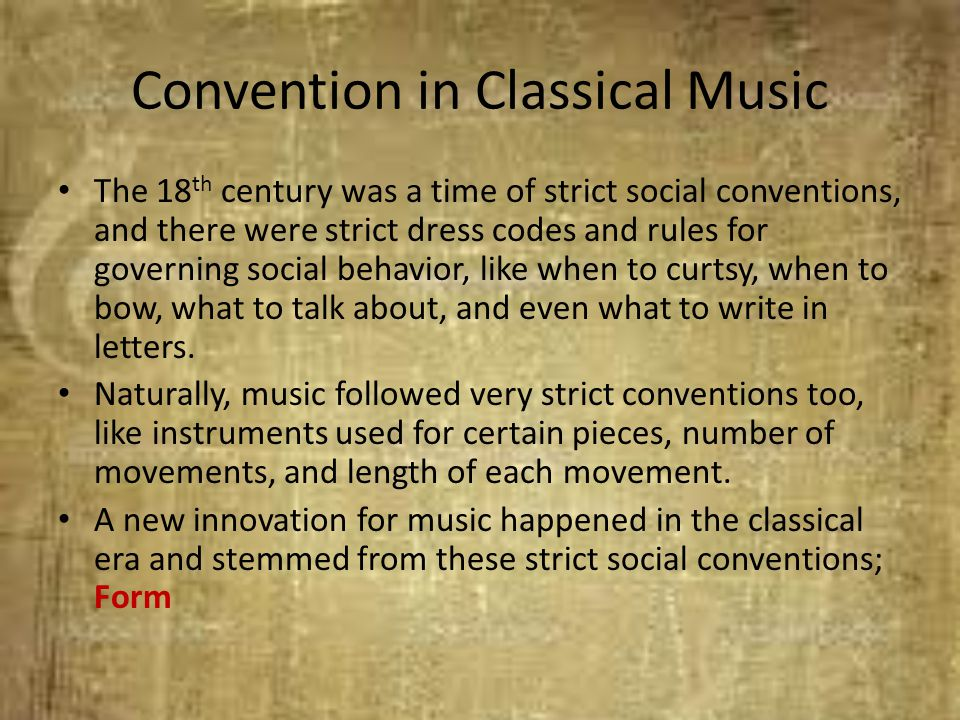 Convention in Classical Music