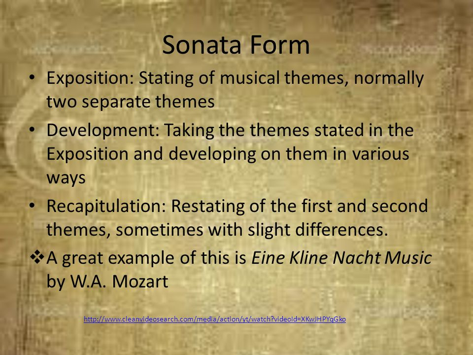 Sonata Form Exposition: Stating of musical themes, normally two separate themes.