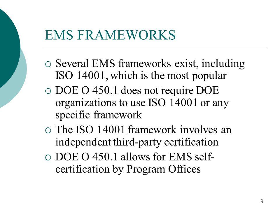 EMS FRAMEWORKS Several EMS frameworks exist, including ISO 14001, which is the most popular.