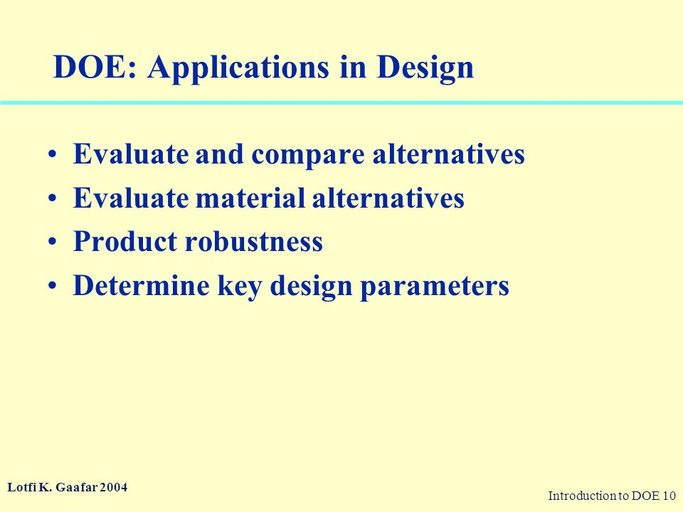 DOE: Applications in Design