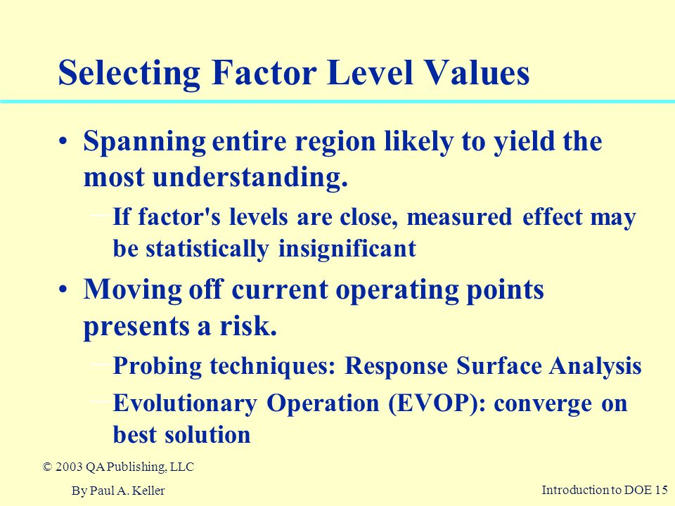 Selecting Factor Level Values