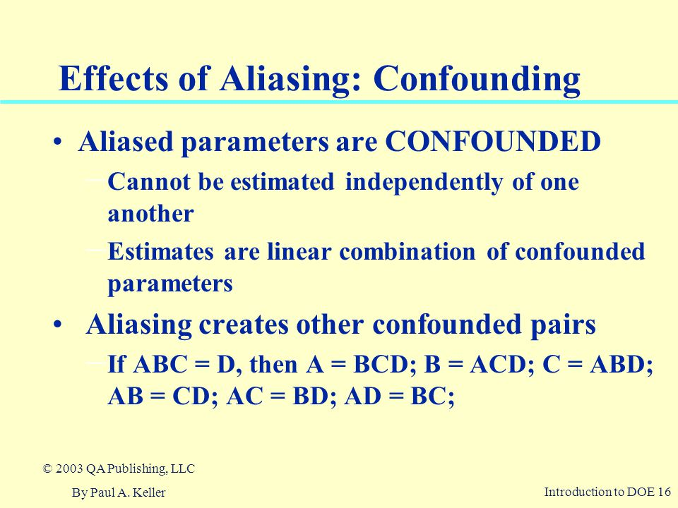 Effects of Aliasing: Confounding