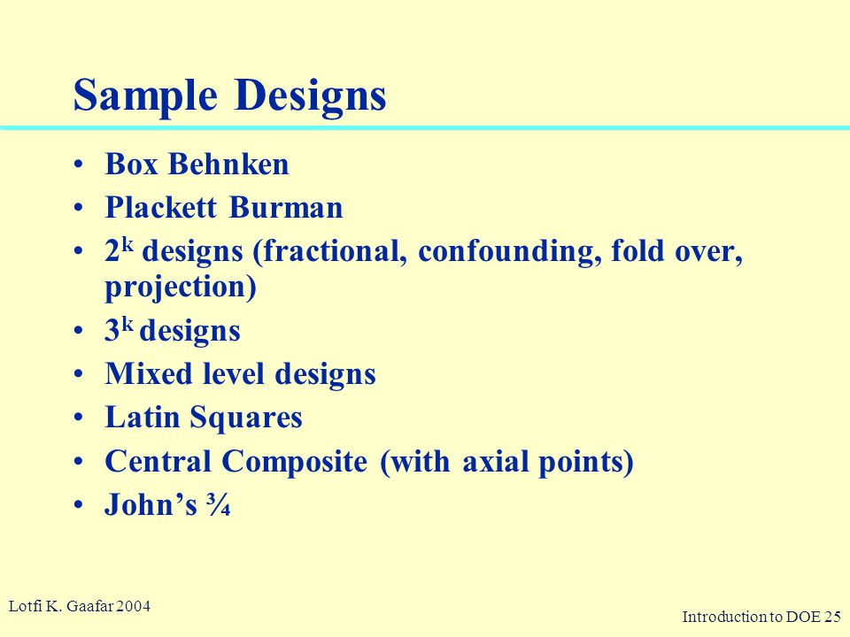Sample Designs Box Behnken Plackett Burman