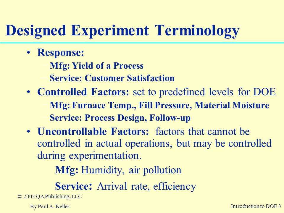 Designed Experiment Terminology