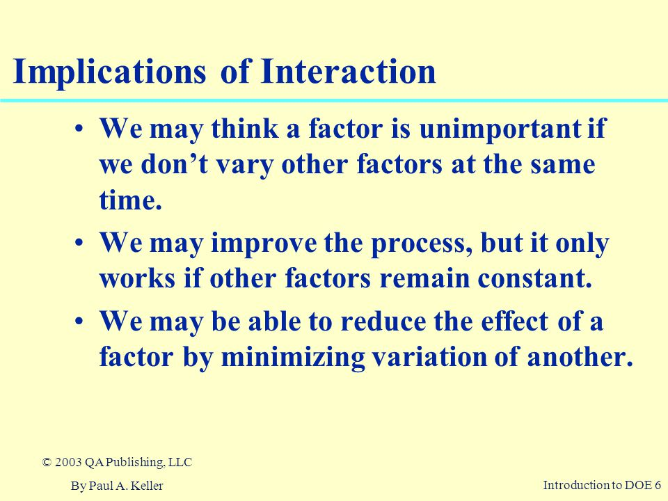 Implications of Interaction
