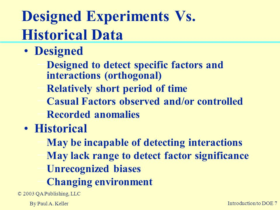 Designed Experiments Vs. Historical Data