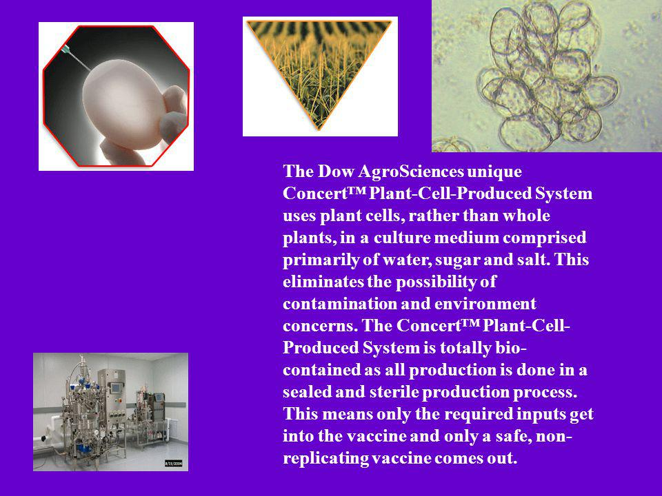 The Dow AgroSciences unique Concert™ Plant-Cell-Produced System uses plant cells, rather than whole plants, in a culture medium comprised primarily of water, sugar and salt.