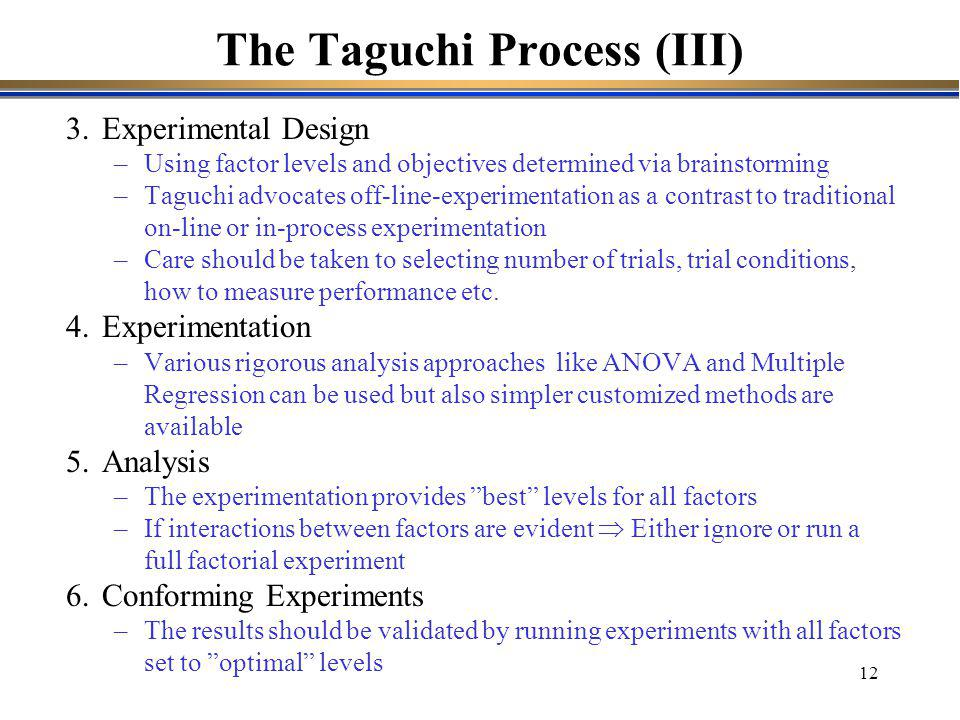 The Taguchi Process (III)