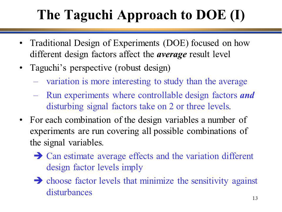 The Taguchi Approach to DOE (I)