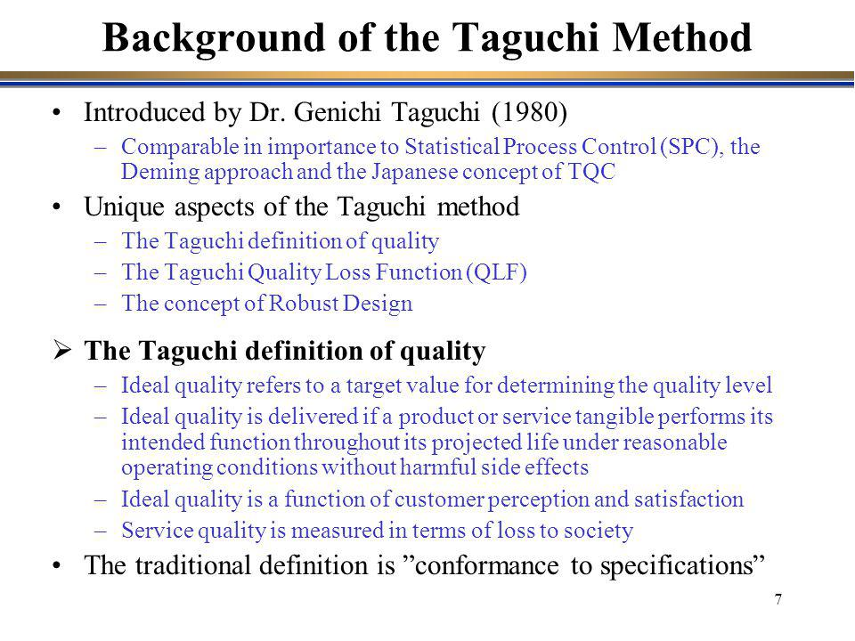 Background of the Taguchi Method