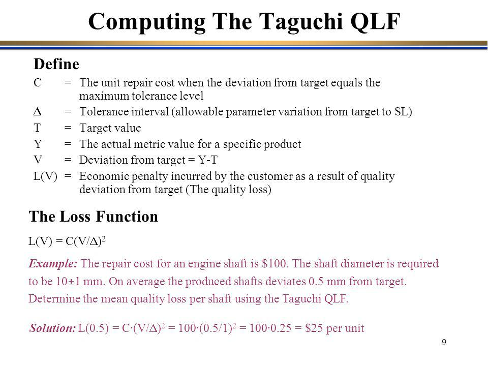 Computing The Taguchi QLF