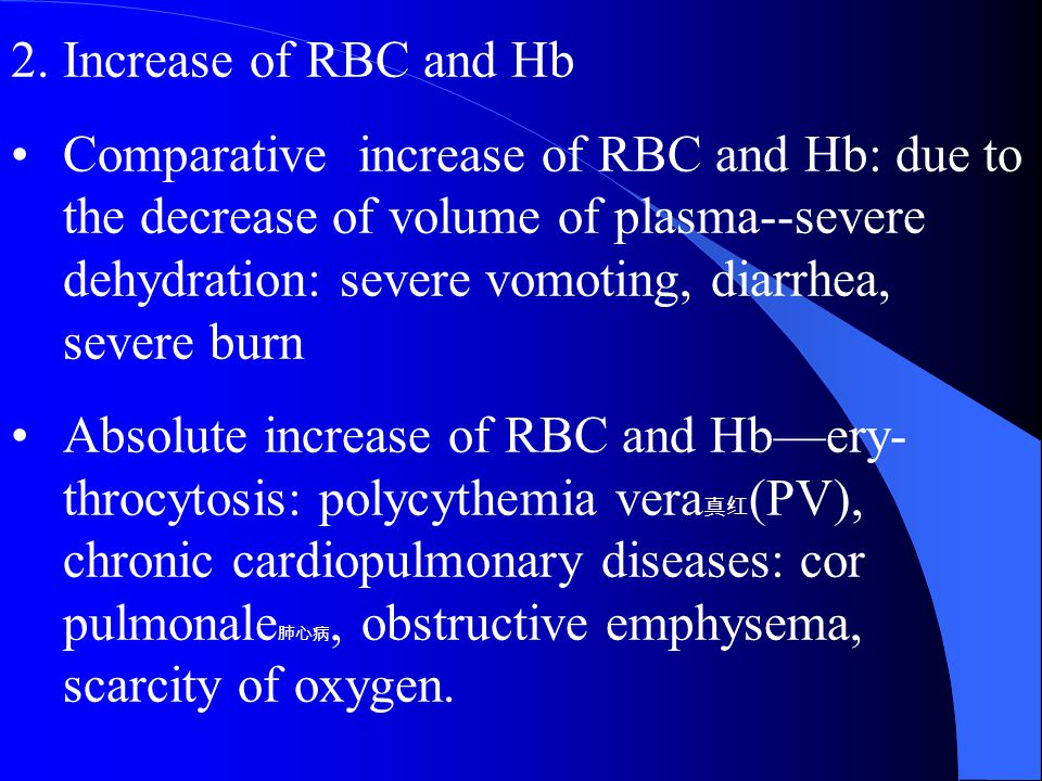 Increase of RBC and Hb