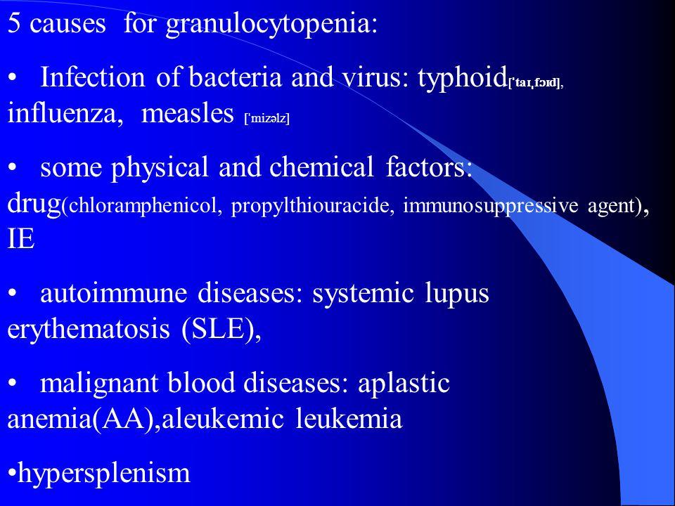 5 causes for granulocytopenia: