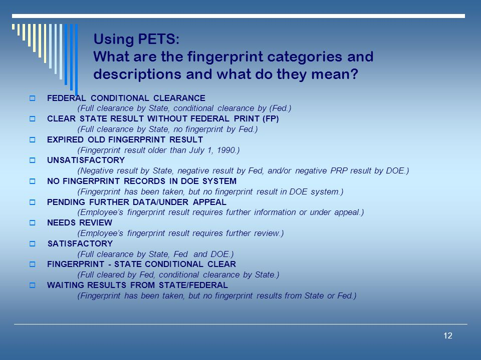 Using PETS: What are the fingerprint categories and descriptions and what do they mean
