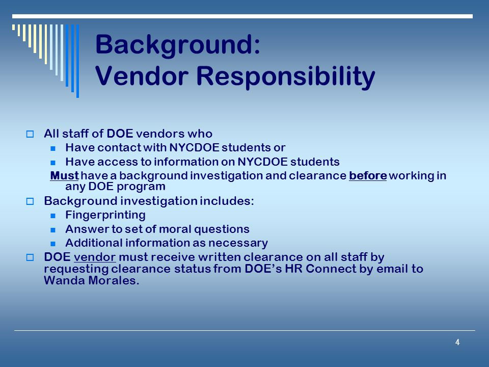 Background: Vendor Responsibility