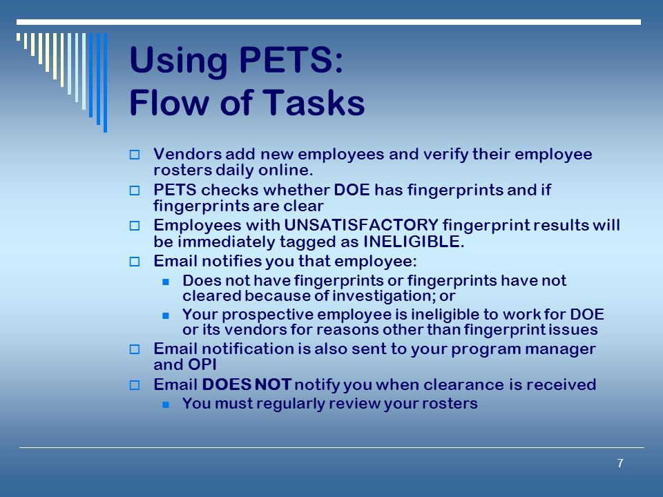Using PETS: Flow of Tasks
