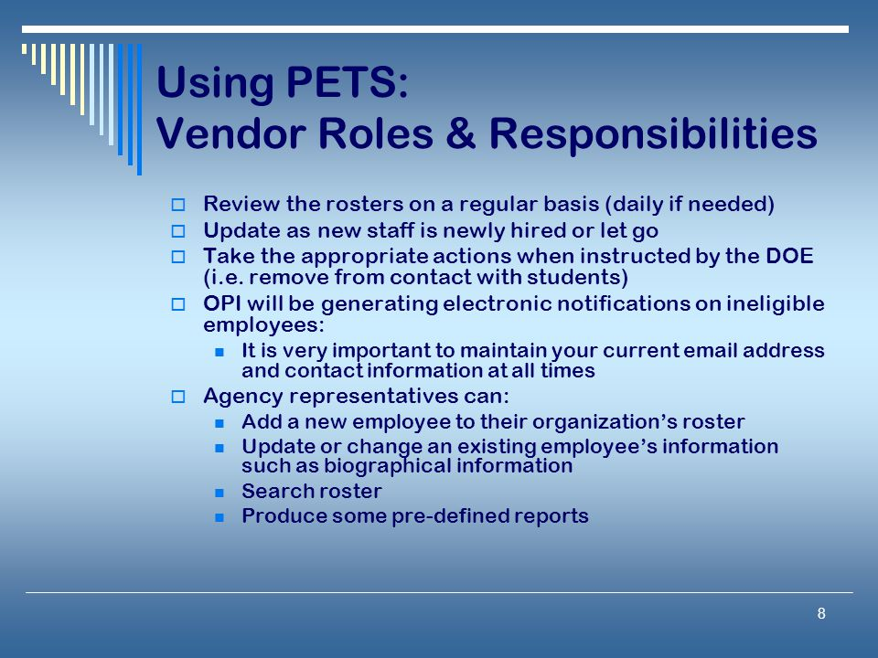 Using PETS: Vendor Roles & Responsibilities