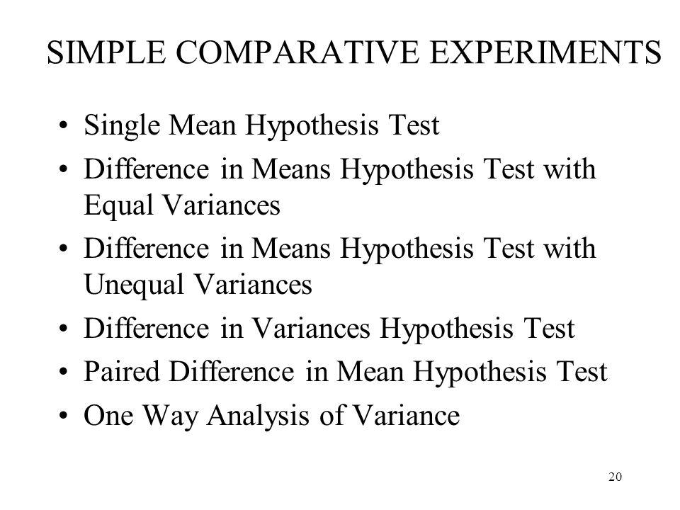 SIMPLE COMPARATIVE EXPERIMENTS