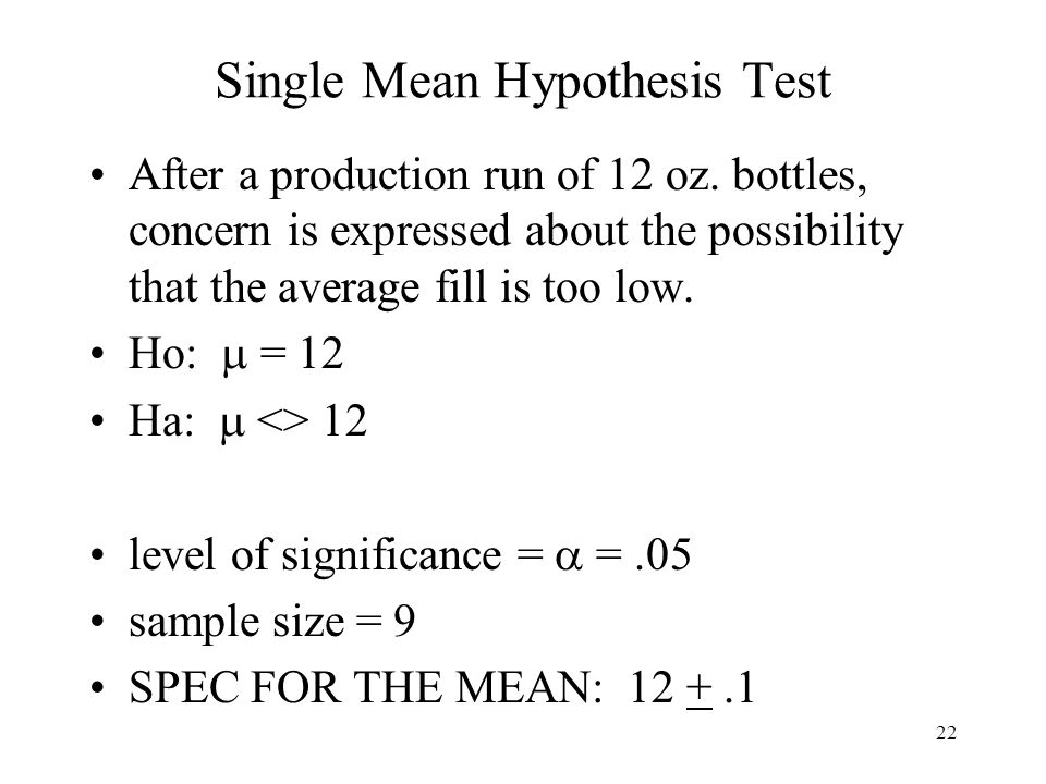Single Mean Hypothesis Test