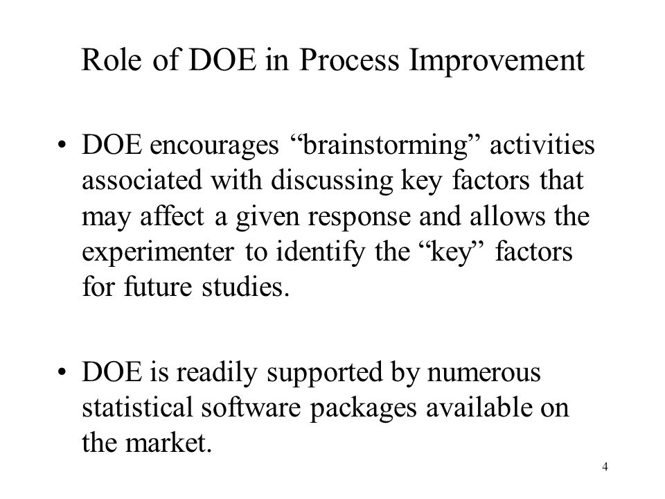 Role of DOE in Process Improvement