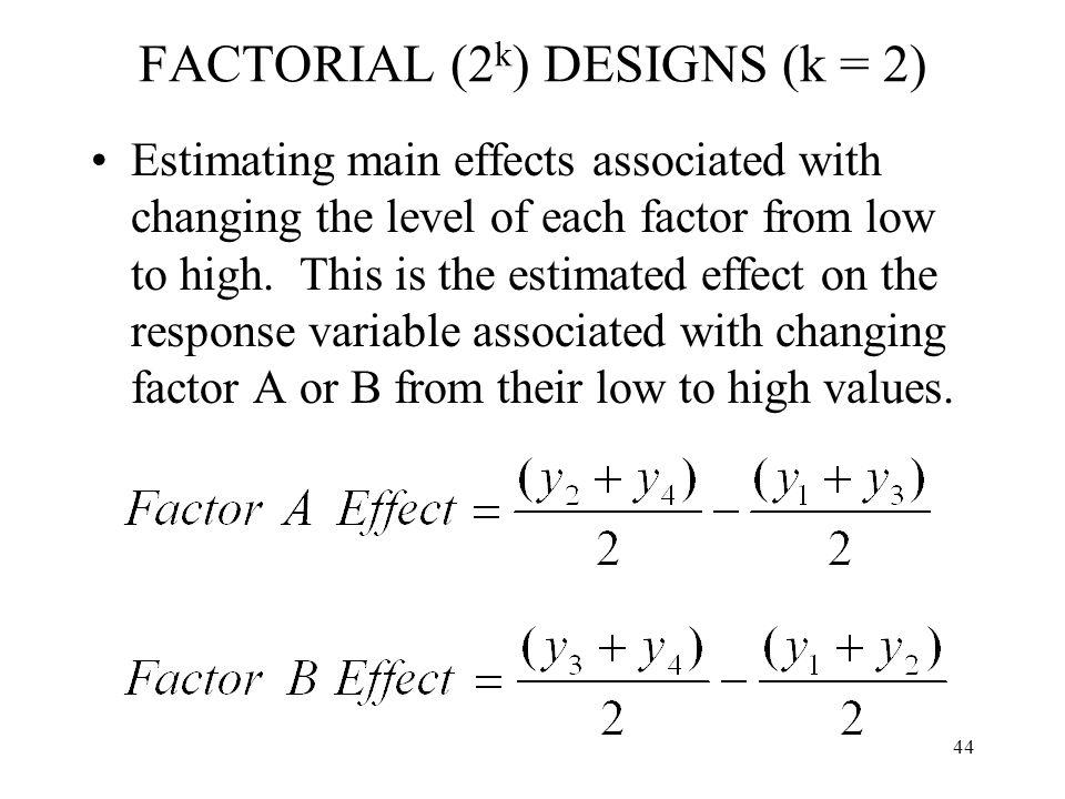 FACTORIAL (2k) DESIGNS (k = 2)