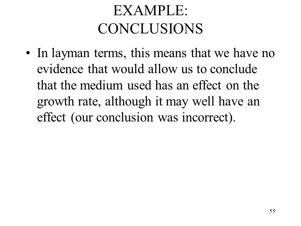 EXAMPLE: CONCLUSIONS