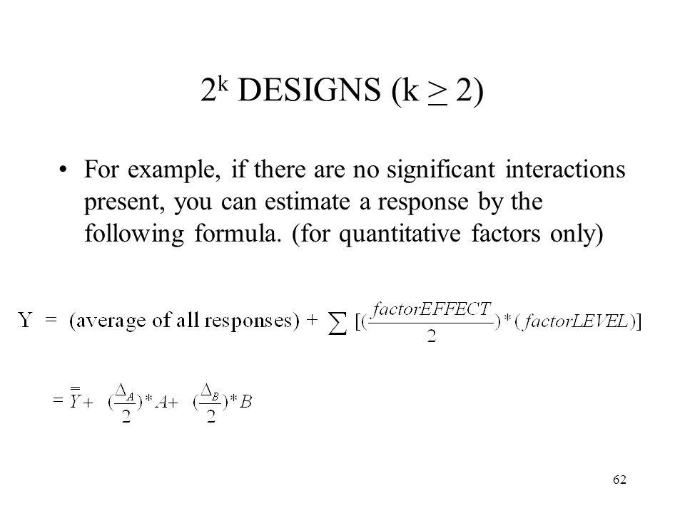 2k DESIGNS (k > 2)