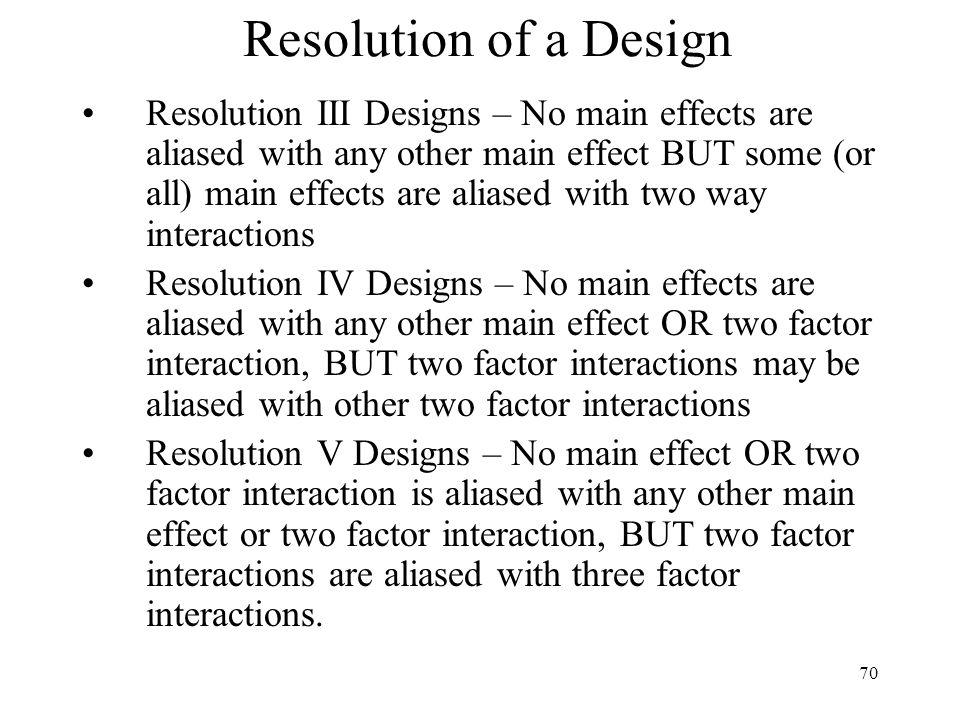 Resolution of a Design
