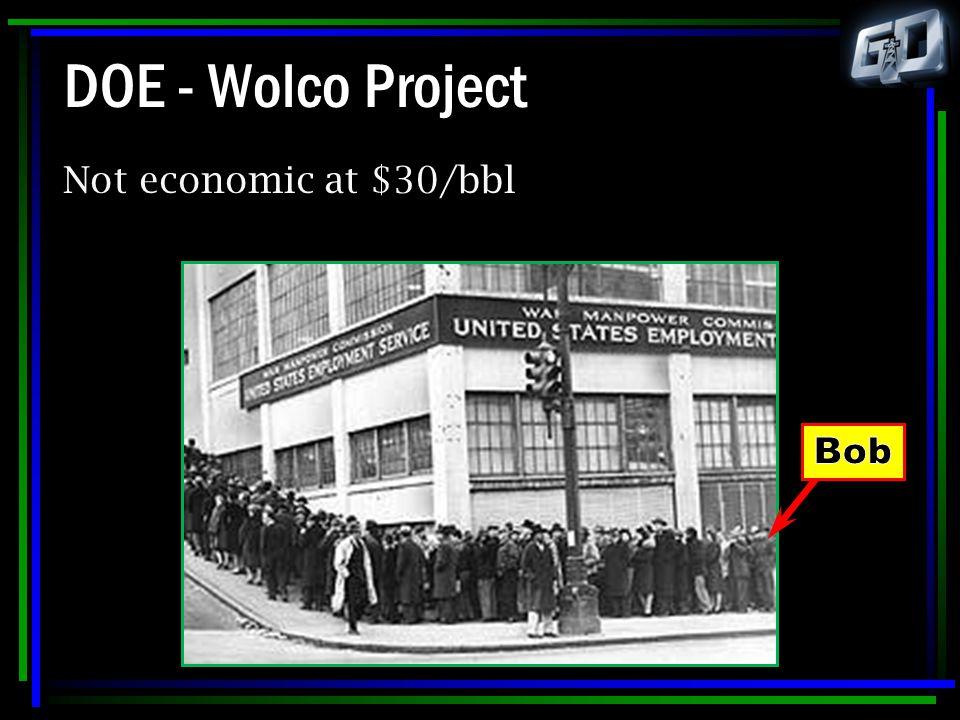 DOE - Wolco Project Not economic at $30/bbl Bob