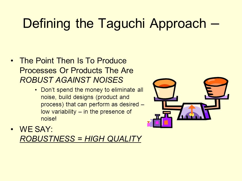 Defining the Taguchi Approach –