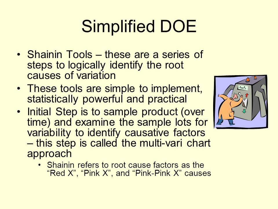 Simplified DOE Shainin Tools – these are a series of steps to logically identify the root causes of variation.