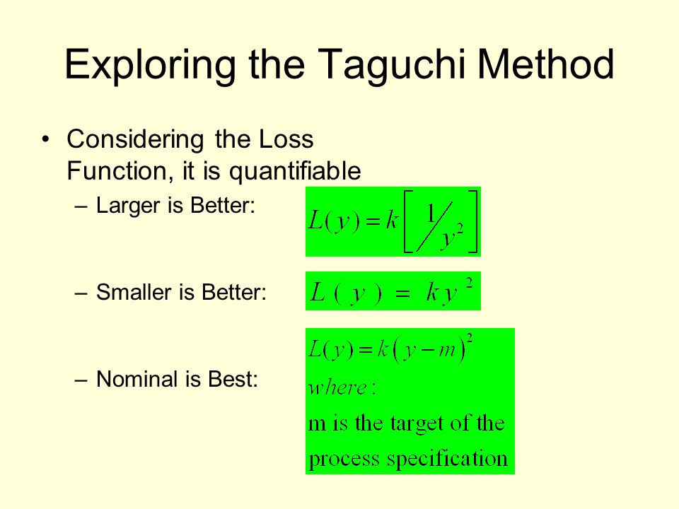 Exploring the Taguchi Method