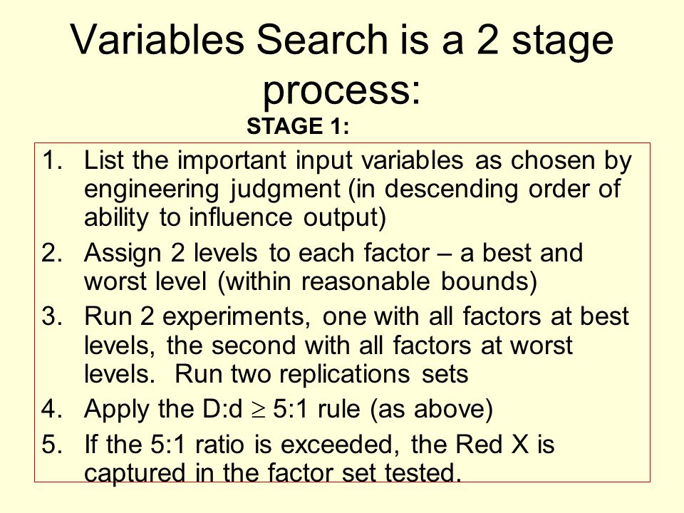 Variables Search is a 2 stage process: