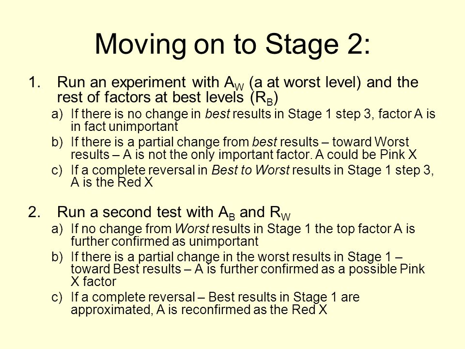 Moving on to Stage 2: Run an experiment with AW (a at worst level) and the rest of factors at best levels (RB)