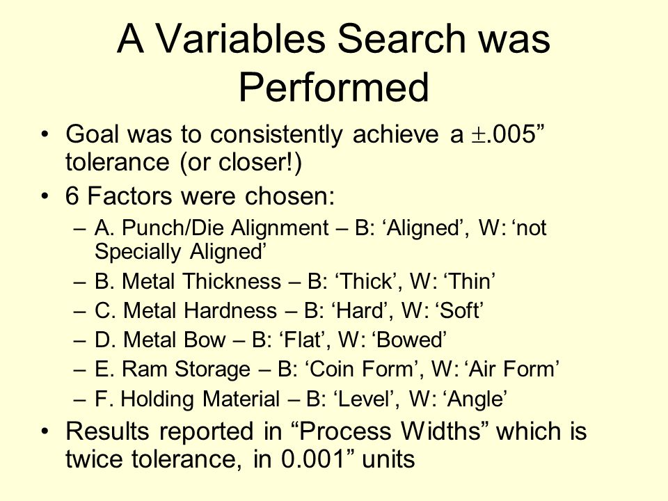 A Variables Search was Performed