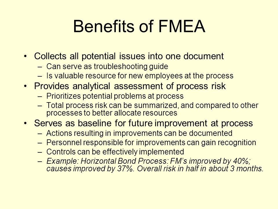 Benefits of FMEA Collects all potential issues into one document