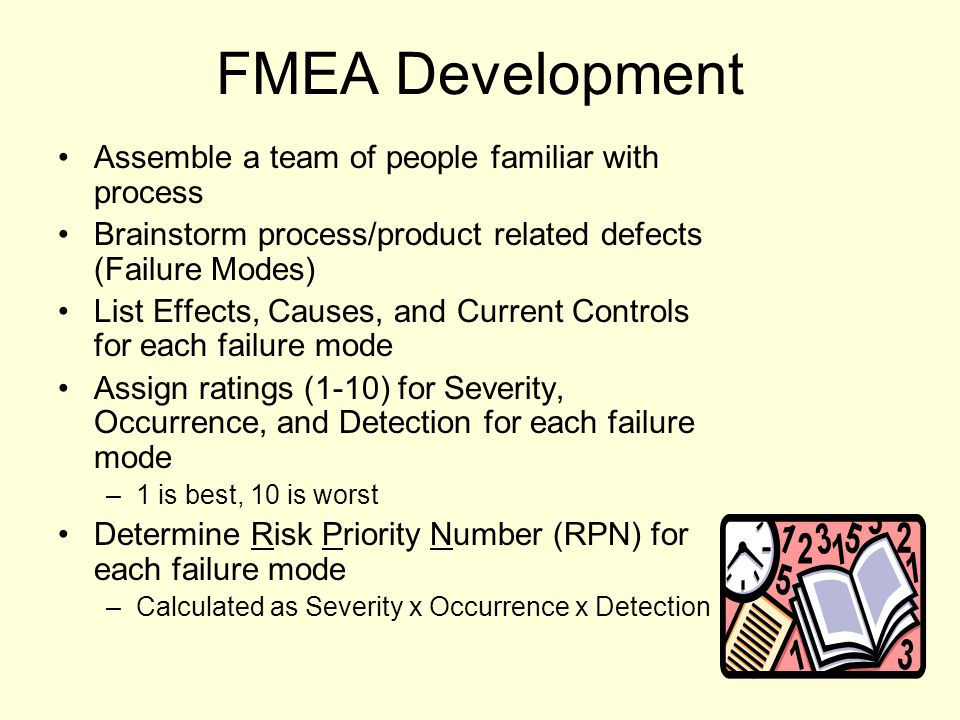 FMEA Development Assemble a team of people familiar with process