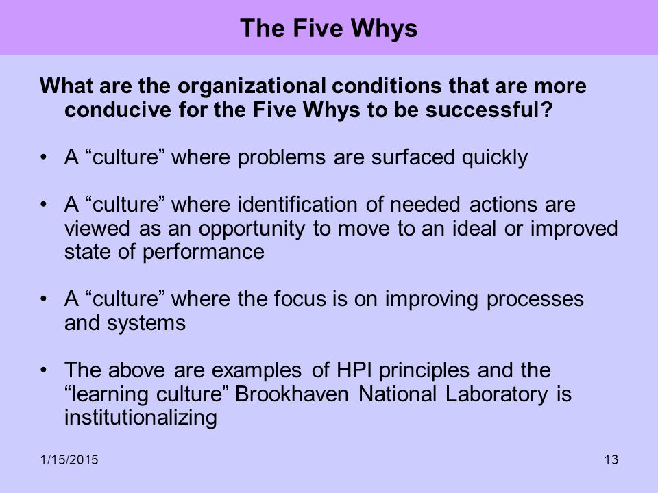 The Five Whys What are the organizational conditions that are more conducive for the Five Whys to be successful