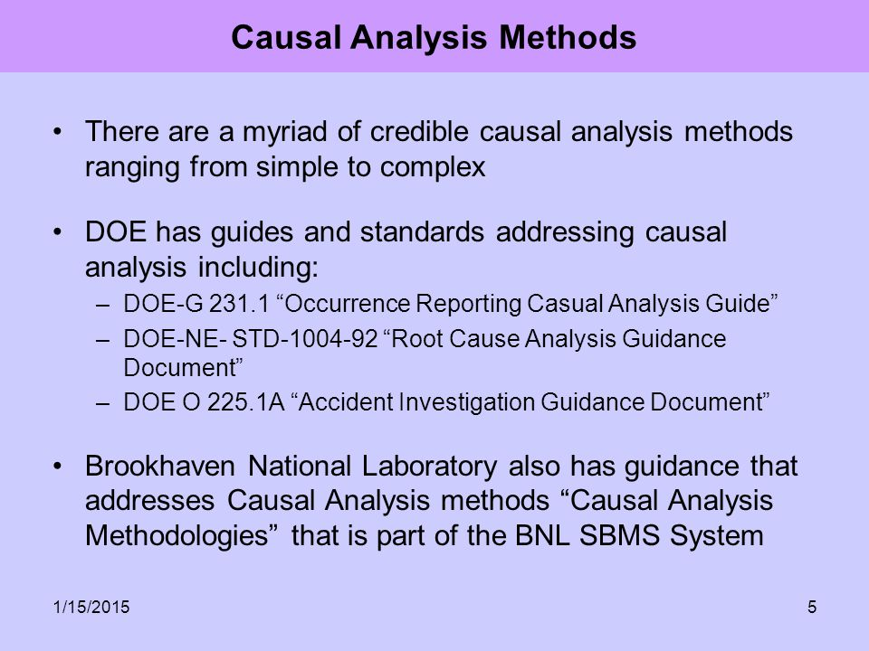 Causal Analysis Methods