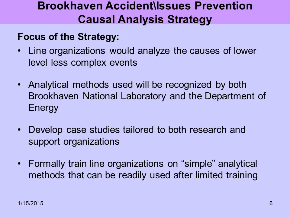 Brookhaven Accident\Issues Prevention Causal Analysis Strategy