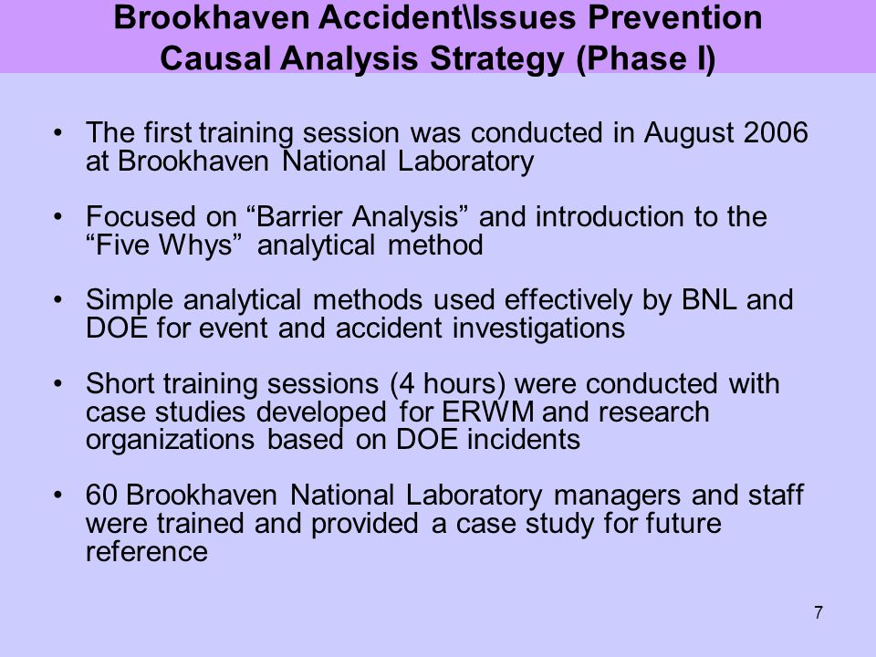 Brookhaven Accident\Issues Prevention Causal Analysis Strategy (Phase I)