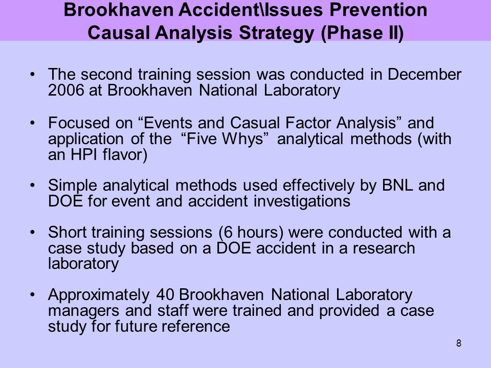Brookhaven Accident\Issues Prevention Causal Analysis Strategy (Phase II)