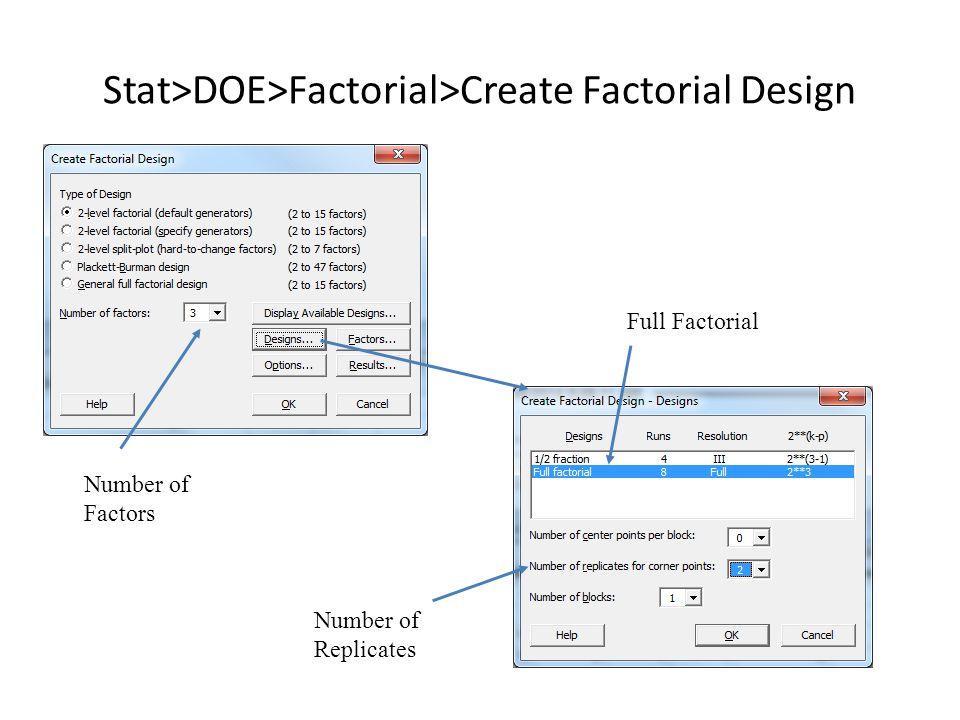 Stat>DOE>Factorial>Create Factorial Design