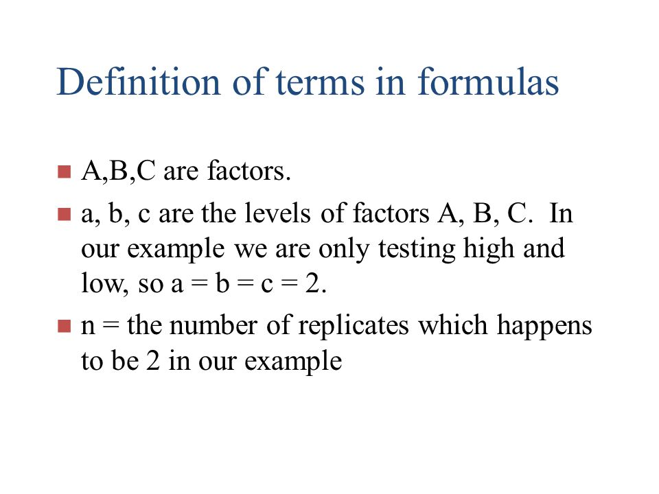Definition of terms in formulas