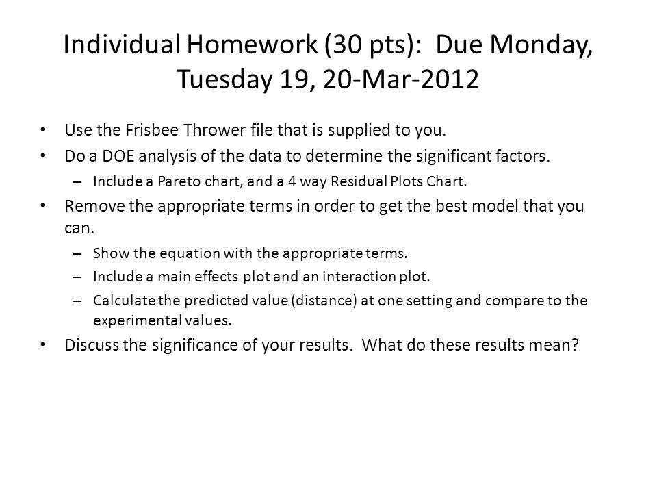 Individual Homework (30 pts): Due Monday, Tuesday 19, 20-Mar-2012